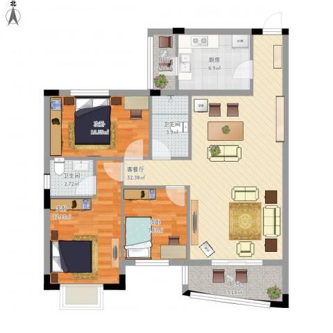 蔚蓝星湖三期3室1厅2卫1厨118.00㎡户型图
