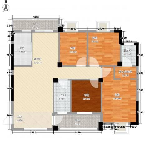 九坤翰林苑4室1厅2卫1厨138.00㎡户型图