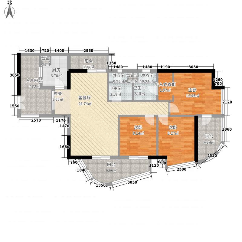 文德先生132.00㎡住宅08单元3室户型