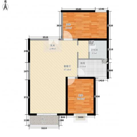 兴庆雅居2室1厅1卫1厨103.00㎡户型图