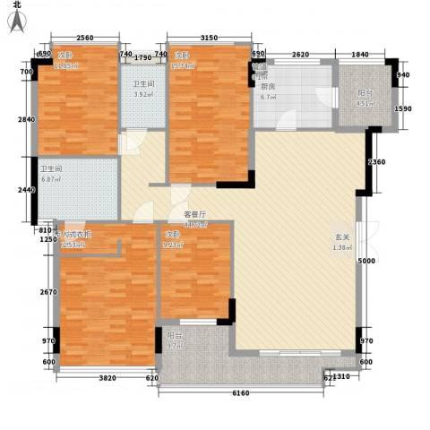 现代经典花园4室1厅2卫1厨190.00㎡户型图