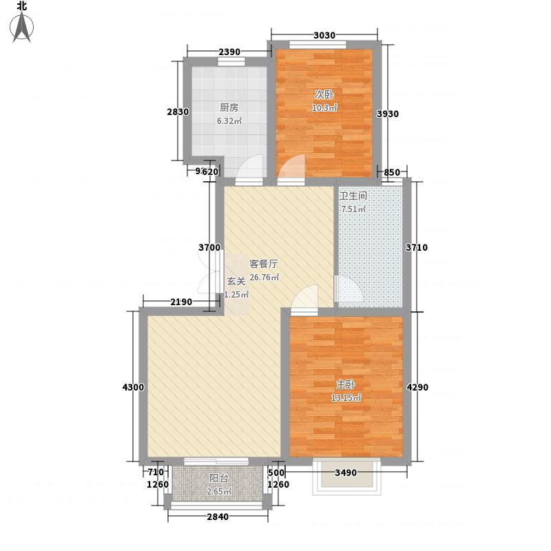 曼城95.00㎡曼城户型图A户型2室2厅1卫1厨户型2室2厅1卫1厨