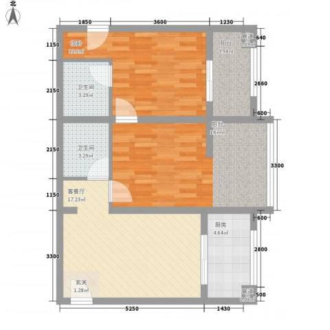 丰盛园2室1厅2卫1厨90.00㎡户型图