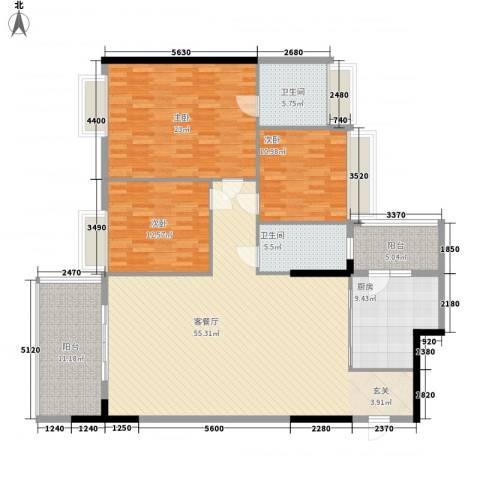 现代经典花园3室1厅2卫1厨190.00㎡户型图