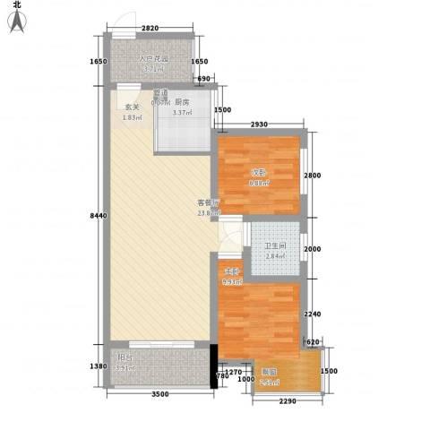 富盈香茶郡2室1厅1卫1厨65.00㎡户型图