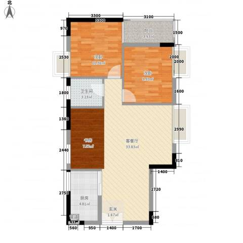 恒隆明珠2室1厅1卫1厨66.26㎡户型图
