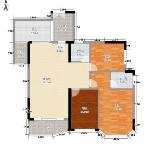 富雅花园3室1厅2卫1厨147.00㎡户型图