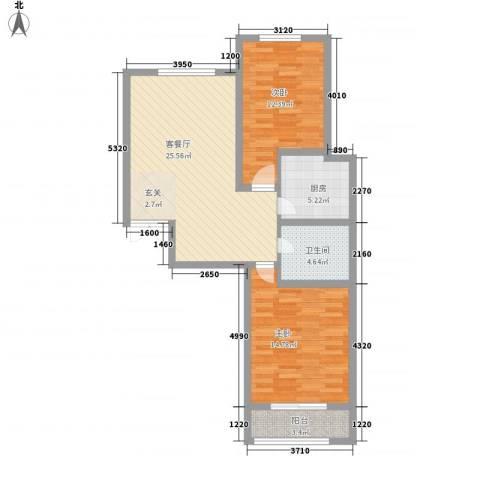 双清别院2室1厅1卫1厨95.00㎡户型图