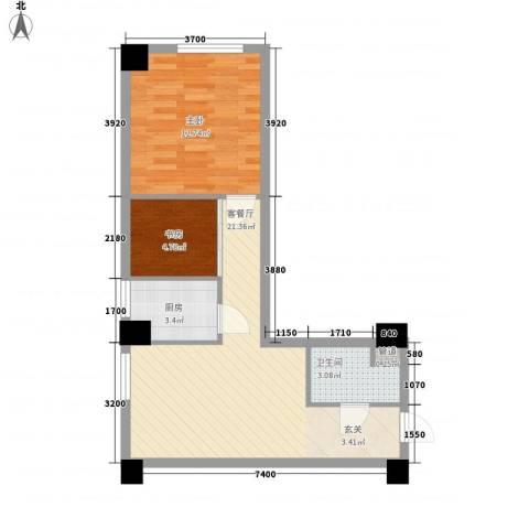 银河国际2室1厅1卫1厨70.00㎡户型图