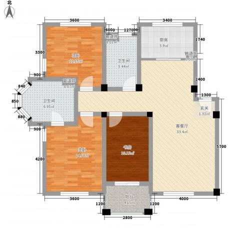 盛世郦都3室1厅2卫1厨105.64㎡户型图