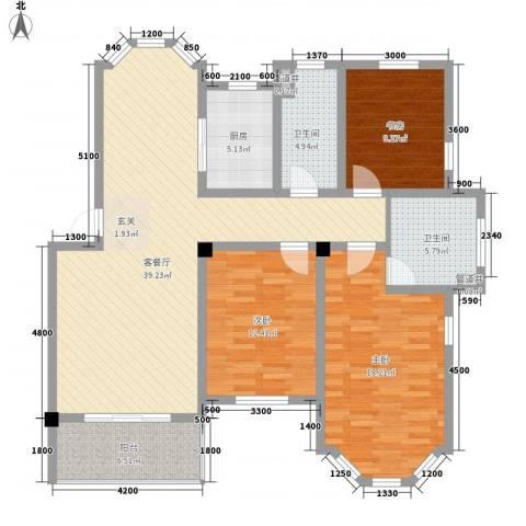 盛世郦都3室1厅2卫1厨122.00㎡户型图