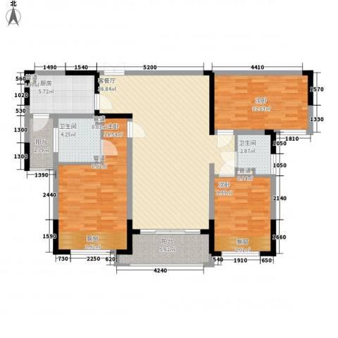 中国铁建领秀城3室1厅2卫1厨107.39㎡户型图