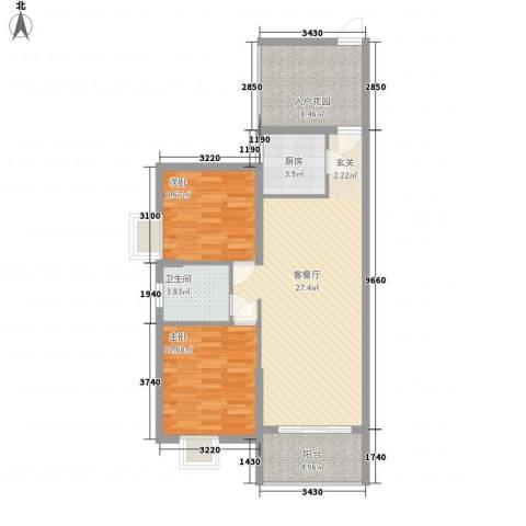 滨江首府2室1厅1卫1厨67.91㎡户型图