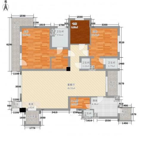 世纪花园3室1厅4卫1厨165.00㎡户型图