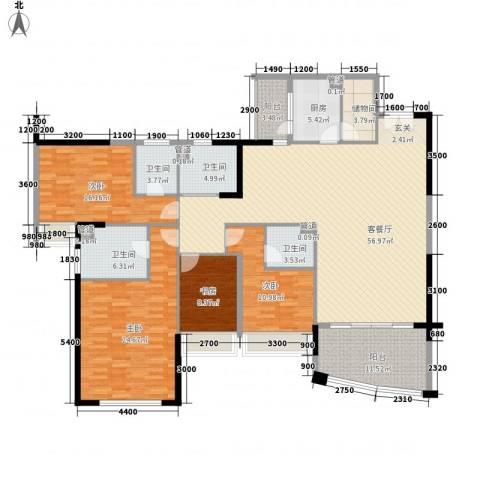 景湖时代城二期4室1厅4卫1厨223.00㎡户型图