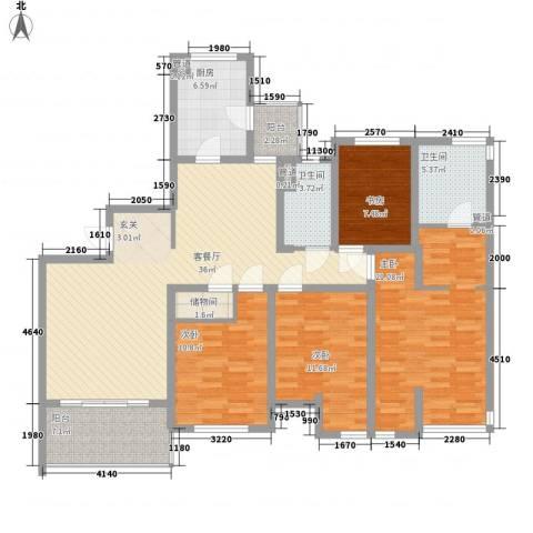 东湖大郡三期4室1厅2卫1厨165.00㎡户型图