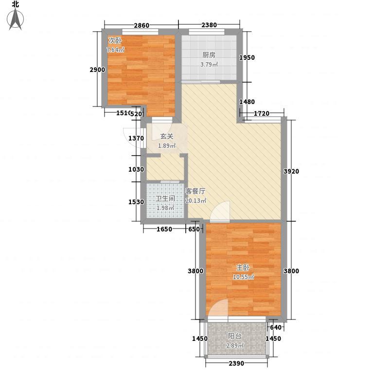 缔景城67.00㎡D区11#C户型2室2厅1卫1厨
