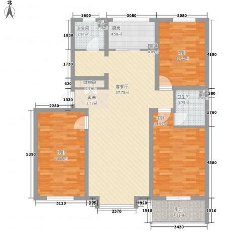 蓝岛书香苑3室1厅2卫1厨134.00㎡户型图