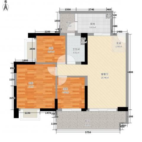 保利林语3室1厅1卫1厨73.57㎡户型图