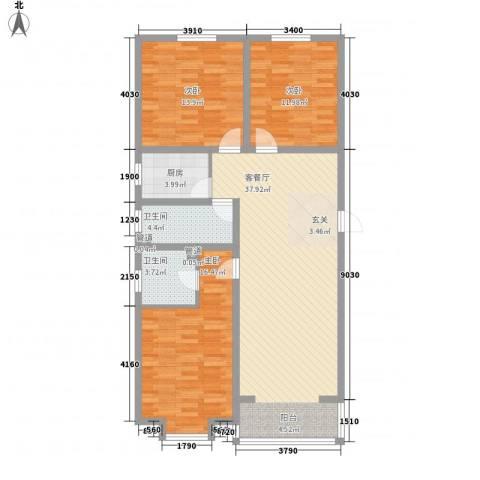 蓝岛书香苑3室1厅2卫1厨130.00㎡户型图