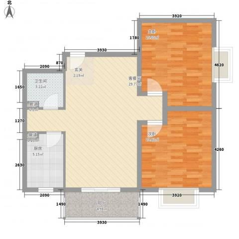 蓝岛书香苑2室1厅1卫1厨101.00㎡户型图
