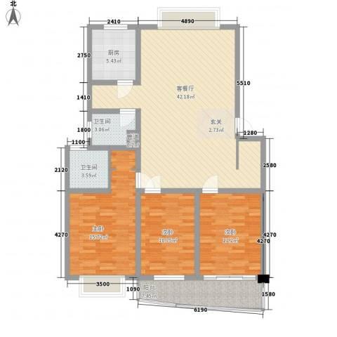 康和苑3室1厅2卫1厨132.00㎡户型图