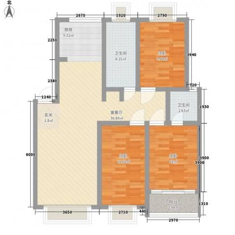 康和苑3室1厅2卫0厨116.00㎡户型图