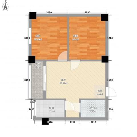 万花园小区2室1厅1卫1厨66.00㎡户型图