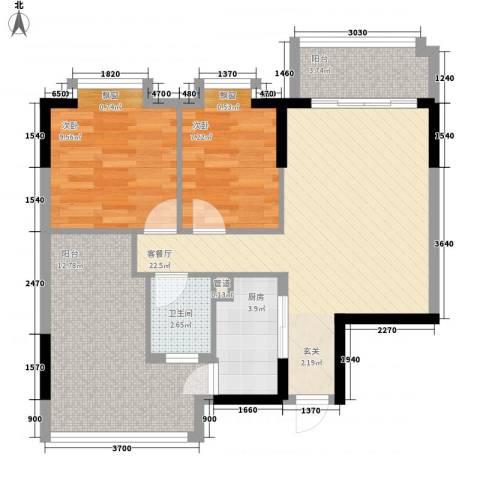 东江花苑2室1厅1卫1厨93.00㎡户型图