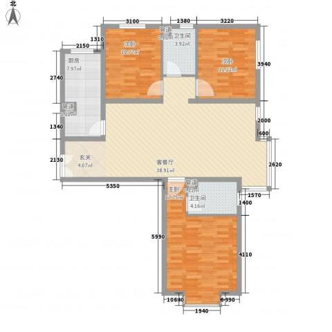 园艺御景3室1厅2卫1厨134.00㎡户型图