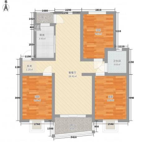 新安罗马花园3室1厅1卫1厨99.00㎡户型图