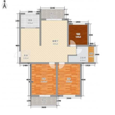 新史家3室1厅1卫1厨87.42㎡户型图