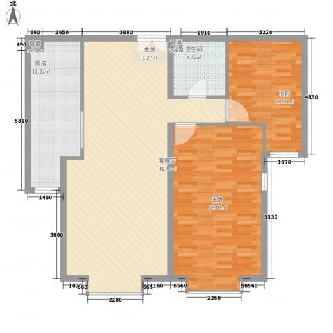 园艺御景2室1厅1卫1厨129.00㎡户型图