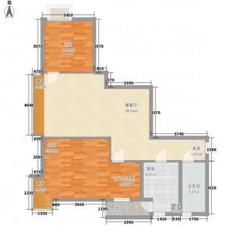 荟锦2室1厅1卫1厨88.27㎡户型图