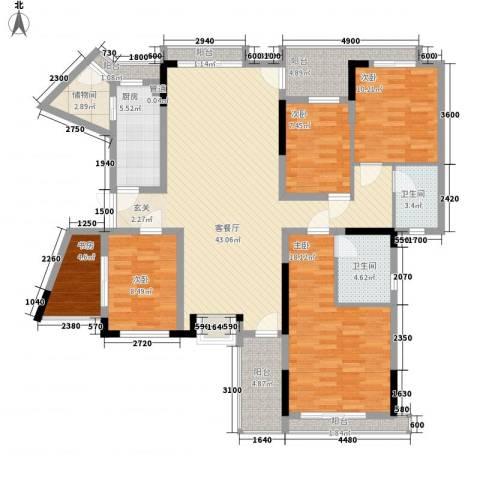 东泰花园5室1厅2卫1厨178.00㎡户型图