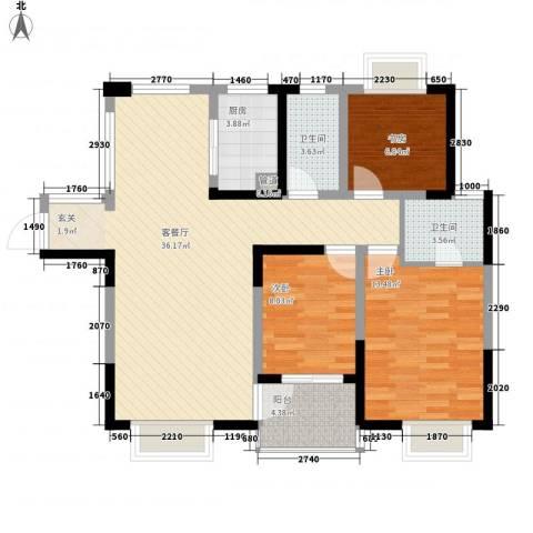 山水湖滨花园二期3室1厅2卫1厨116.00㎡户型图