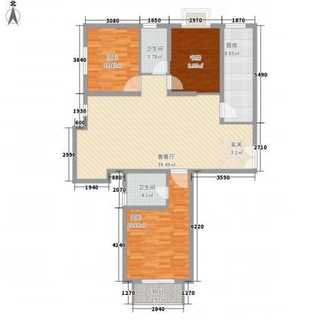 园艺御景3室1厅2卫1厨135.00㎡户型图