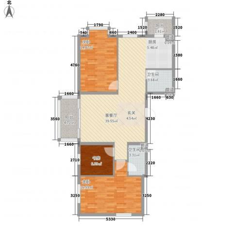 海富金棕榈3室1厅2卫0厨92.84㎡户型图