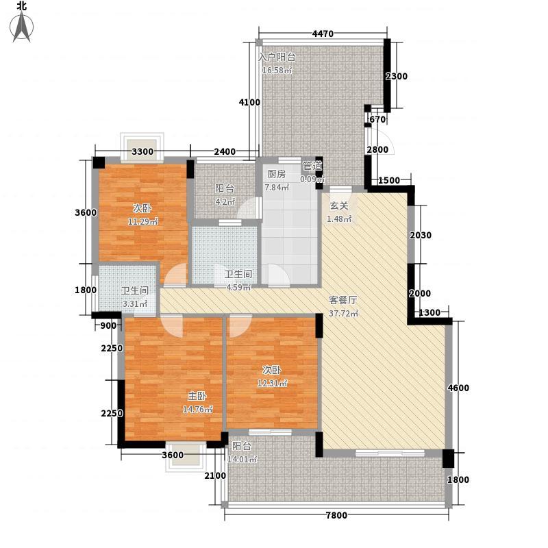 银滩万泉城135.55㎡14#A4户型3室2厅2卫1厨