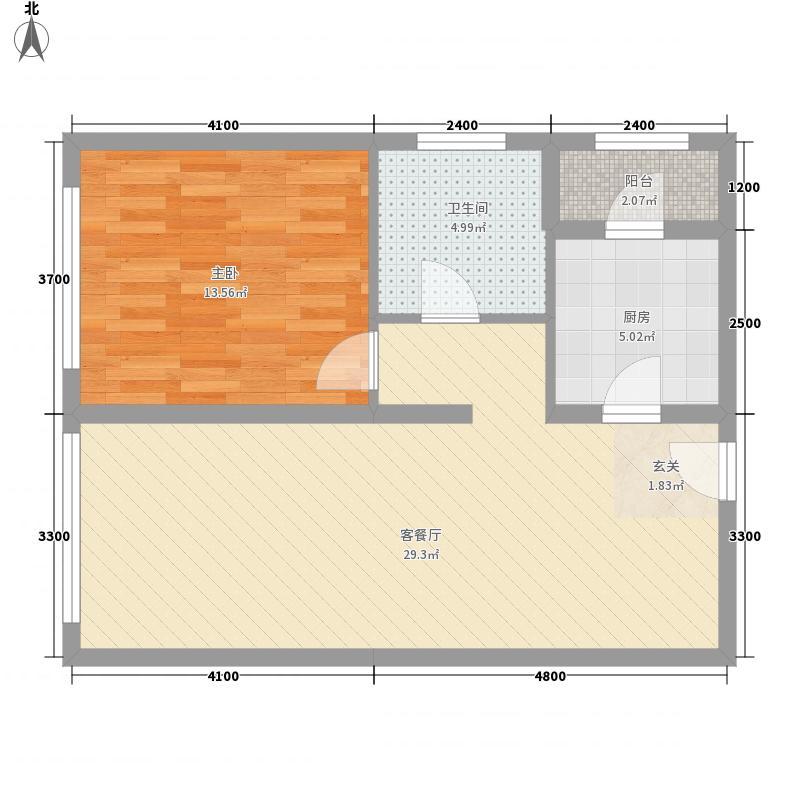 保利香槟国际78.54㎡3号楼3-12层B2户型1室2厅1卫1厨