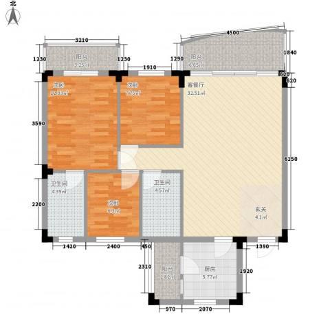 年丰山庄3室1厅2卫1厨125.00㎡户型图