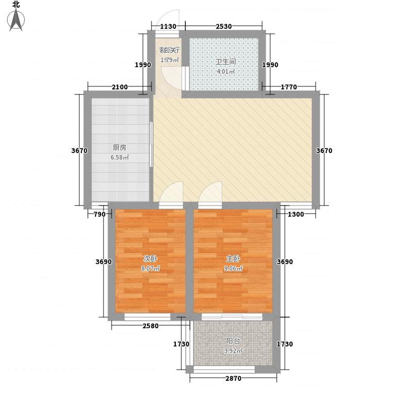 温泉花乡76.00㎡高层14层、18层保准层户型2室1厅1卫1厨