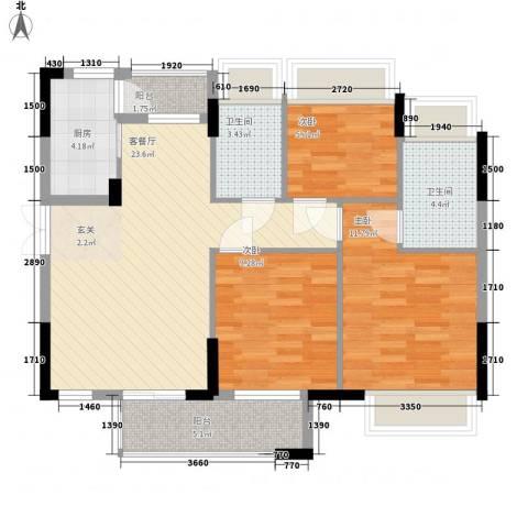年丰山庄3室1厅2卫1厨126.00㎡户型图