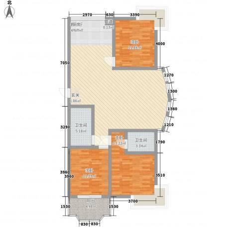 万花园小区3室1厅2卫0厨138.00㎡户型图