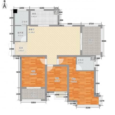 久和国际新城3室1厅2卫1厨101.65㎡户型图