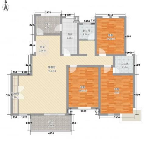 映湖山庄3室1厅2卫1厨165.00㎡户型图
