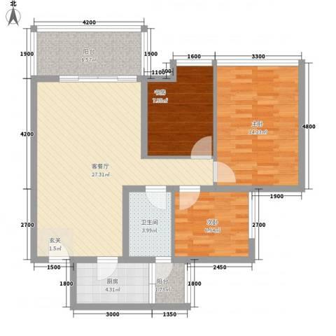 厦成海景花园3室1厅1卫1厨105.00㎡户型图