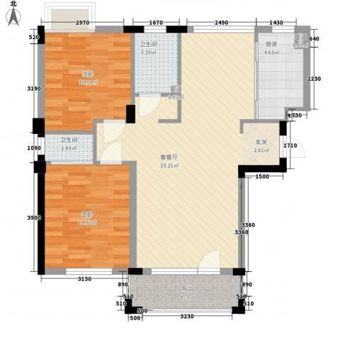 斯坦福院落2室1厅2卫1厨78.29㎡户型图