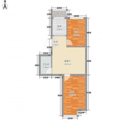 廊桥国际2室1厅1卫1厨70.00㎡户型图