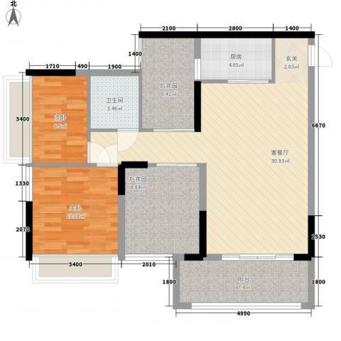 深业东城御园2室1厅1卫1厨77.78㎡户型图